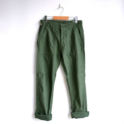画像1: orSlow/ SLIM FIT FATIGUE PANTS  グリーン