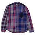 シュペリオールレイバー/ スモールカラー・チェックシャツ クレイジーパターン(13AW-SL203)