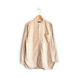 *A VONTADE / Banded Collar Shirts -Cotton Viera Stripe-